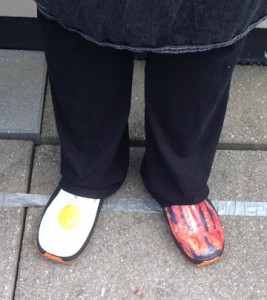 chef jenna of Amore in style with bacon and egg shoe designs
